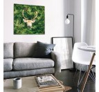 Stag in the nature on an aluminium art photo for wall decoration