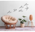 Metal wall decoration of 6 birds for a modern decoration