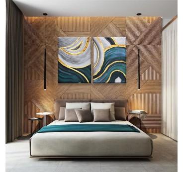 Tableau peinture design avec deux cadres réalisés à la main dans une déco de chambre moderne