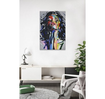 Woman pop art painting in a design wall decoration