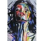 Toile peinture pop art avec des couleurs jaunes, bleues et rouges pour votre déco intérieure