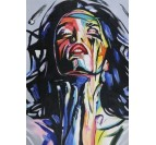 Woman pop art painting with blue, yellow and red colors for interior decoration
