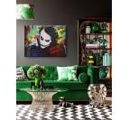 Tableau peinture pop art du joker dans un cadre moderne de décoration murale de salon