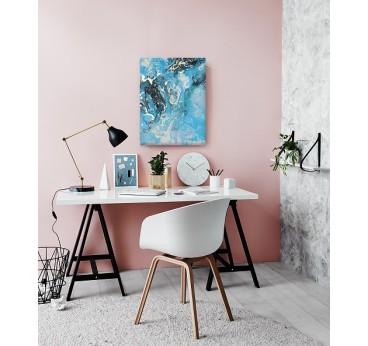 Tableau peinture design réalisé à la main d'une structure marbre dans un bureau moderne