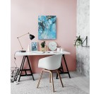 Blue marble wall oil painting for in a modern desk with a design touch