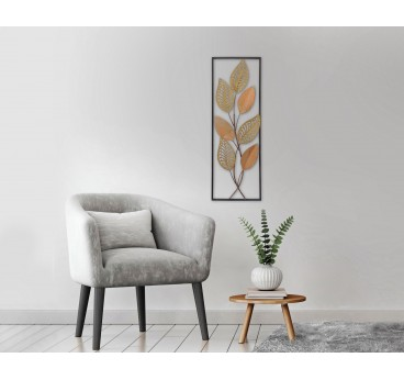 Modern metal wall frame of plants and flowers in a design interior