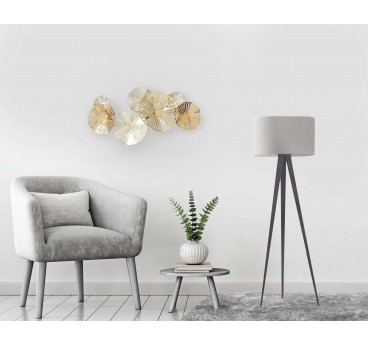 Modern metal wall decoration for interior with a golden and silver touches