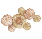 Round metal wall sculpture with golden and openwork circles