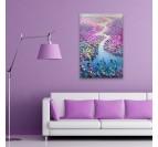 Peinture sur toile design d'une rivière avec des champs de fleurs en déco murale design