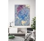 Tableau peinture design profusion avec des couleurs bleues et violettes dans une décoration murale de salon