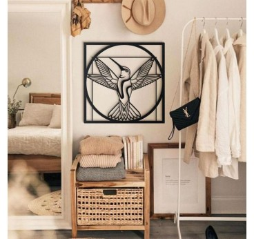 Vitruvian bird on a metal wall decoration for a design interior