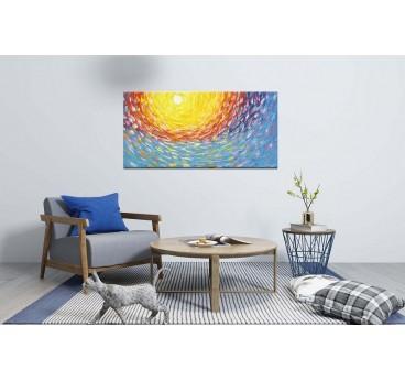 Tableau peinture design avec un soleil et des couleurs éclatantes pour votre décoration murale design