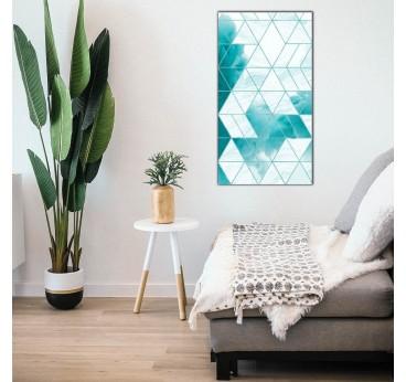 Tableau peinture design en bleu avec des formes géométriques dans une déco murale de salon
