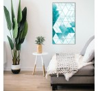Modern oil painting with geometrical shapes in a modern living room