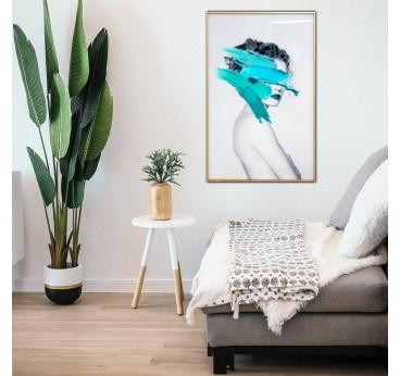 Tableau moderne et design d'une photo de mode avec un coup de pinceau turquoise dans une déco tendance