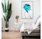 Modern and design wall art of a fashion photo with a turquoise brush stroke in a trendy decor
