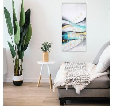 Tableau peinture moderne réalisé au pinceau pour une déco murale de salon contemporaine