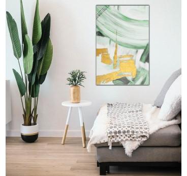 Tableau peinture zen en vert et or dans une décoration murale intérieure de salon