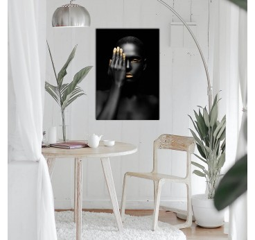 Design wall art of a woman in black and gold to create a modern and trendy interior