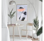 Design and contemporary canvas print of a woman with a spray of pink paint in a trendy wall decoration
