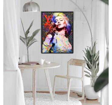 Tableau peinture pop art de Madonna avec un style multicolore pour une déco murale street art
