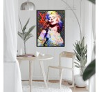 Pop oil painting of Madonna in a street art wall decoration