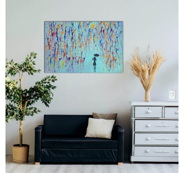 Blue modern oil painting of a rain in a modern wall decoration