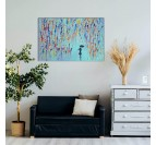 Tableau peinture design réalisé à la main par nos artistes d'une femme sous la pluie dans une déco moderne de salon