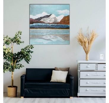 Cette peinture sur toile en tableau déco pas cher vous propose une montagne dans une déco murale salon