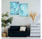 Design wall marble decoration in blue for an unique living room interior