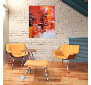 Tableau peinture rouge et flamme dans une déco murale moderne et design