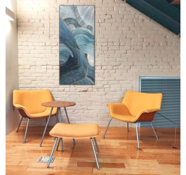 Blue modern oil painting decoration in a living room with an artistic touch