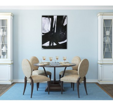 Black and white oil painting canvas in a contemporary interior decoration