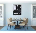 Toile peinture moderne en noir et blanc avec des formes contemporaines dans une déco murale de salon