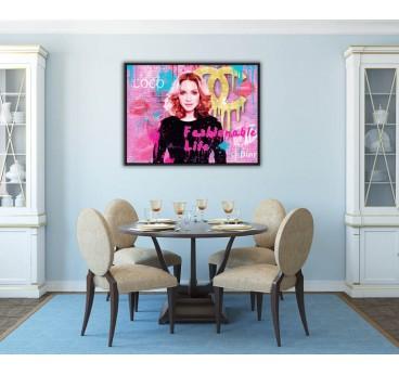 Tableau peinture pop art de mode avec Madonna pour une décoration murale design