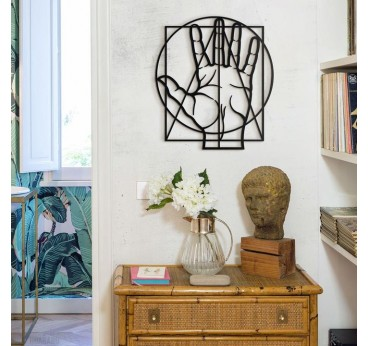Hand golden ratio design wall decoration on metal for an unique interior