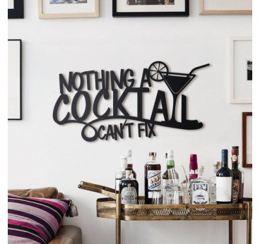 Metal wall decoration of a cocktail quote for a design and modern interior