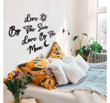 Quote of the moon and the sun on a modern metal wall decoration for interior