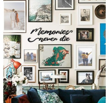 Design metal wall decoration of memories for an unique interior