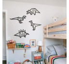 Style origami et design pour cette décoration murale métallique de dinosaures pour votre intérieur