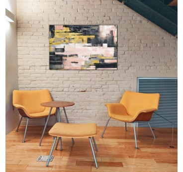 Pink brick oil painting for interior in a design wall decoration
