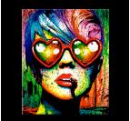 Tableau Pop Art Love Glasses