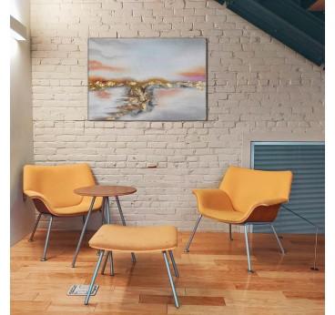 Tableau peinture design en rose et doré pour un style contemporaine dans votre intérieur