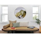 Round design wall art of a golden mountain in contemporary style with a golden frame and a plexiglass to protect the work
