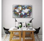 World map oil painting canvas for an unique interior decoration