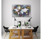 Tableau peinture carte du monde en version street art et colorée pour votre déco murale