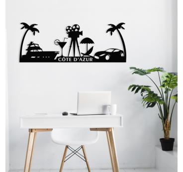 Skyline décoration murale de la côte d'azur avec des palmiers ou encore Cannes pour votre salon contemporain
