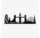 London metal wall skyline decoration in black