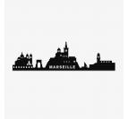 Skyline déco design de marseille en métal pour une décoration murale en noir
