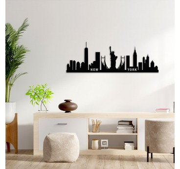 Wall decorative skyline of New York in a modern living room